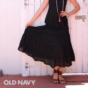 NWT Old Navy Tiered Cotton Maxi Skirt, S